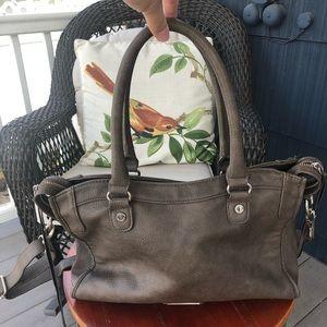 Steve Madden Dark Taupe Brown Woven Detail Bag